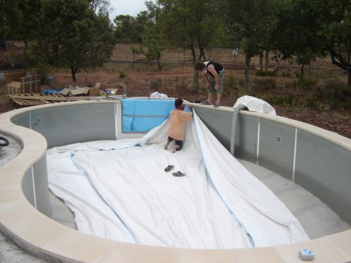 Mise en place du liner for Pose de liner pour piscine