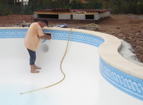 Mise en place du liner for Piscine coque pose comprise