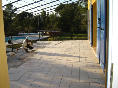 Construction de la terrasse page 2 for Pose carrelage exterieur sur chape